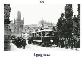 QSL card 2017 - Electric tram on Charles Bridge in years 1905–1908, photo: Dopravní podnik hlavního města Prahy
