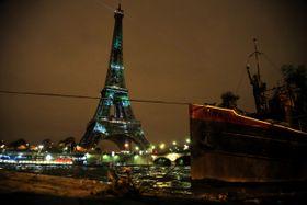 При случае конференции символ Парижа облачился в зеленый цвет, Фото: ЧТК