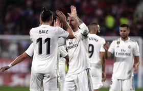Real Madrid's Gareth Bale celebrates scoring the goal during the Spanish La Liga match between Girona and Real Madrid, photo: ČTK/AP/Eric Alonso