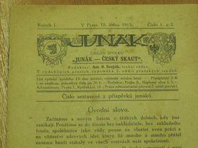 První číslo časopisu Junák vyšlo již vroce 1915, foto: Martina Bílá