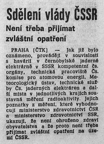 'It is not necessary to introduce any special precautions', Rudé Právo, May 1, 1986