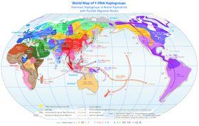 Mapa předpokládaného historického šíření mužské linie lidstva, založená na znalostech ohaploskupinách chromozomu Y, foto: CCommons A-SA 3.0 Unported / free domain